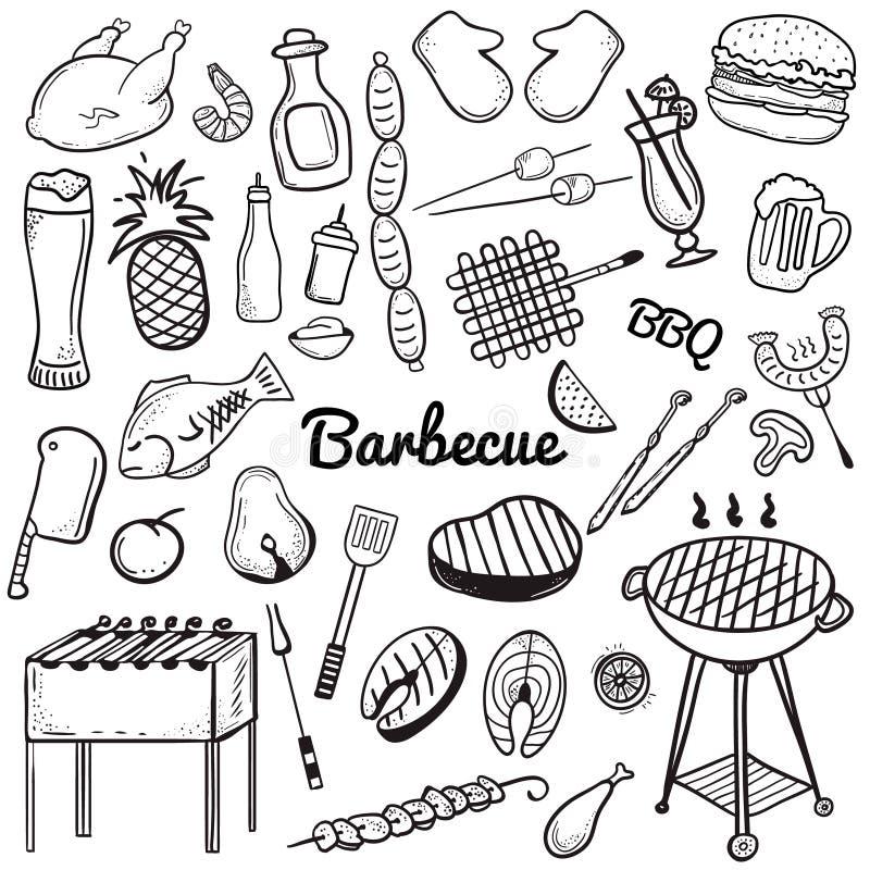 De vector schetsmatige de Krabbelreeks van de lijnkunst voorwerpen en de symbolen voor barbecue en grill als thema hebben vector illustratie