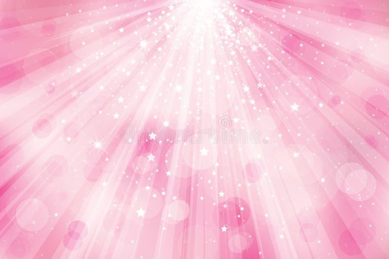 De vector schittert roze achtergrond met stralen van licht stock illustratie