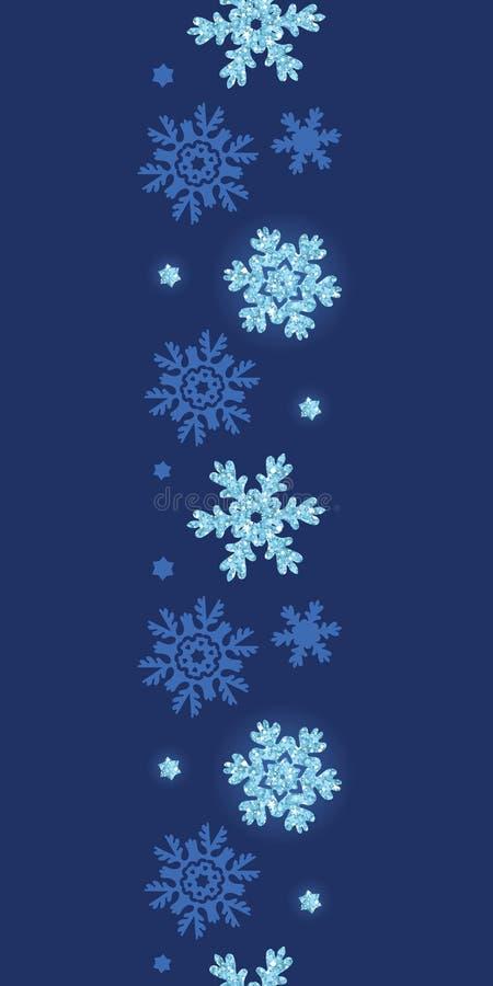 De vector schittert sneeuwvlokken donkere verticale grens stock illustratie