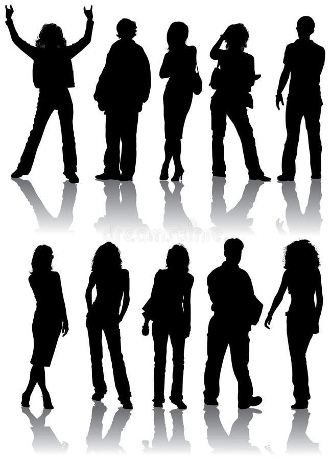 De vector silhouetteert de mens en vrouwen vector illustratie
