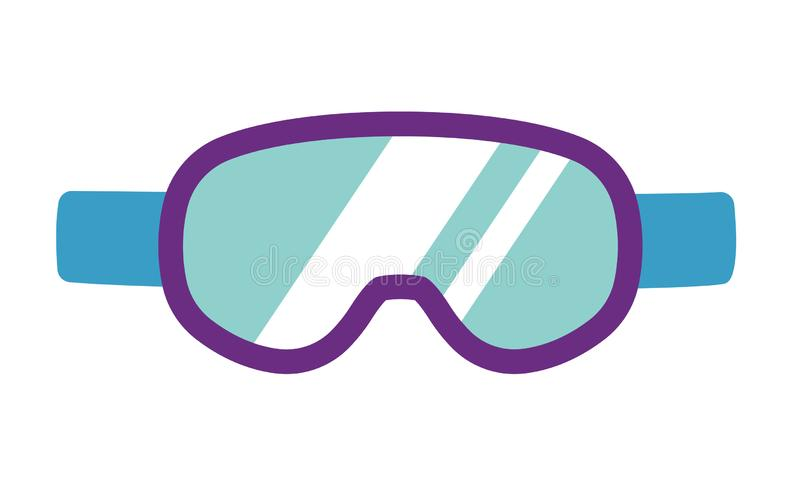 De vector snowboarding skibeschermende brillen, maskeren vlakke Snowboard, het materiaal van de de winteractiviteit, hulpmiddelen vector illustratie