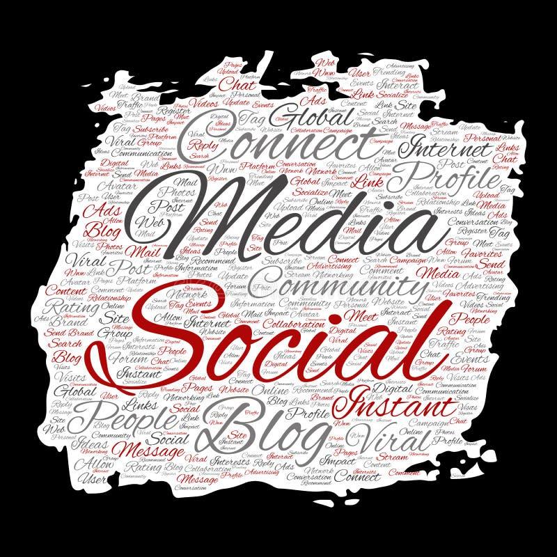 De vector sociale media voorzien van een netwerk of communicatie Web marketing wolk van het technologiewoord stock illustratie
