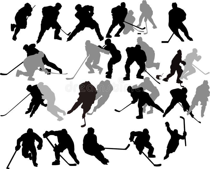 De vector Spelers van het Hockey - Silhouetten. royalty-vrije illustratie