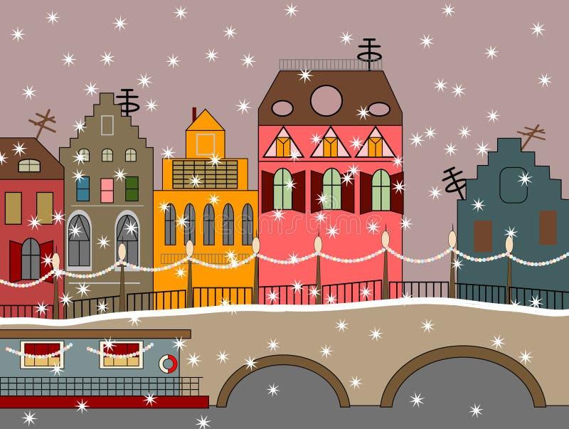 De vector stad van de de winterfee vector illustratie