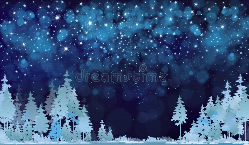 De vector sterrige hemel en het bos van de de winternacht vector illustratie