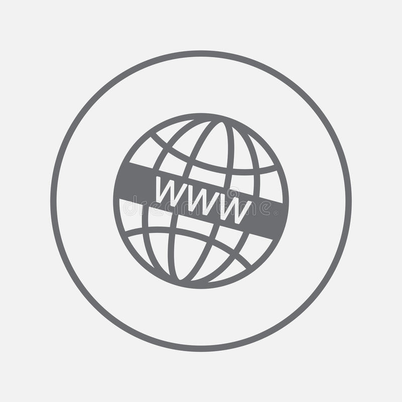 De vector, stevige die illustratie van het Wwwpictogram, pictogram op grijs wordt geïsoleerd stock illustratie