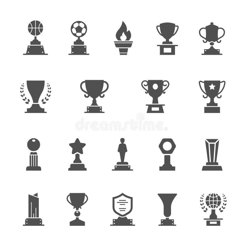 De vector stevige geplaatste pictogrammen van de trofeetoekenning vector illustratie