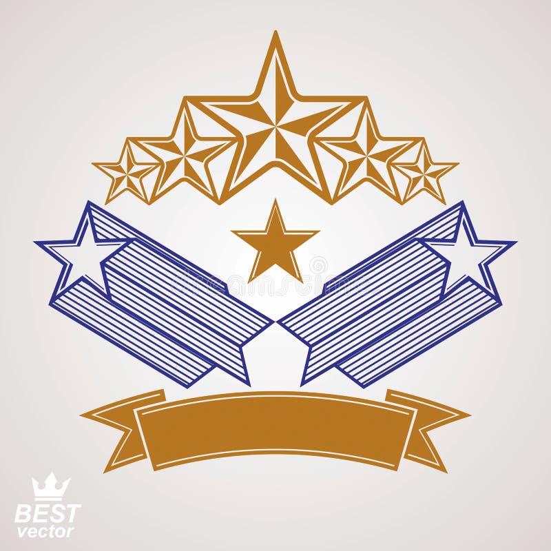 De vector stileerde koninklijk symbool Aristrocratisch grafisch embleem met F stock illustratie