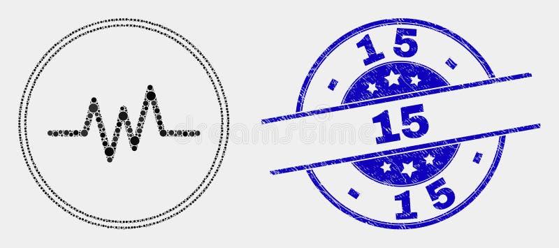 De vector stippelde het Pictogram van het Impulssignaal en kraste Verbinding 15 stock illustratie