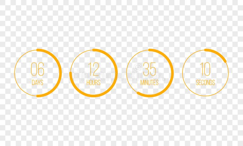 De vector tegentijdopnemer van de aftelprocedureklok UI digitale telling onderaan de meter van de cirkelraad met de pasteidiagram royalty-vrije illustratie