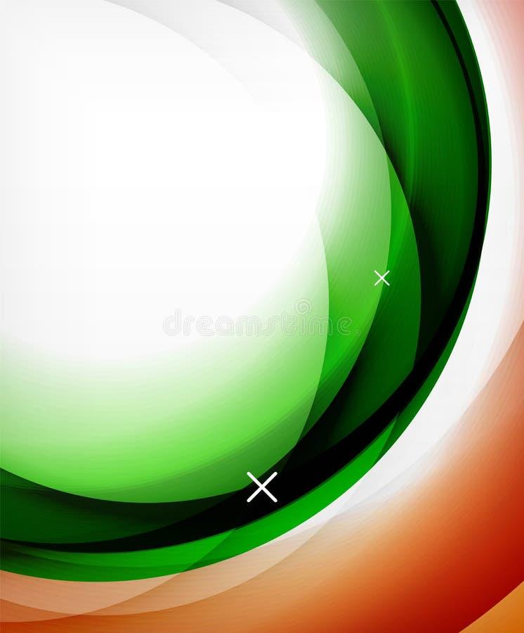 De vector transparante lijnen van de kleurengolf vatten achtergrond, glanzende glasgolven, vector abstracte achtergronden, glanze royalty-vrije illustratie