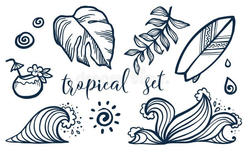 De vector tropische elementen plaatsen: surfende raad, kokosnotencocktail, golven en bladeren stock illustratie