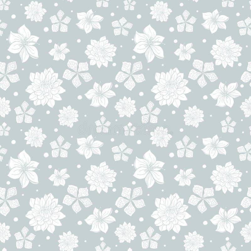 De vector tropische grijs-witte naadloze bloemen herhalen patroon achtergrondontwerp Groot voor de uitnodigingen van de de zomerp vector illustratie