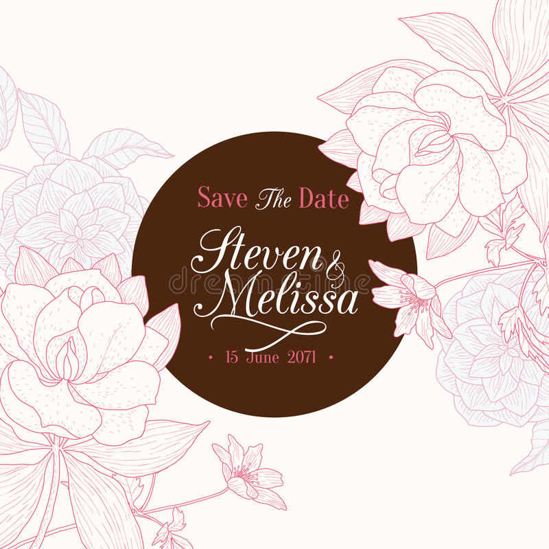 De vector Uitstekende Chocoladebruine Roze Ronde Kaart van de het Huwelijksuitnodiging van de Kader Bloementekening stock illustratie