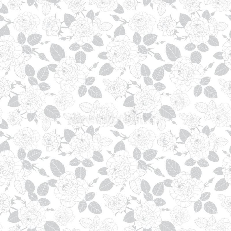 De vector uitstekende grijze rozen en de bladeren op witte naadloze achtergrond herhalen patroontextuur Groot voor retro stof stock illustratie