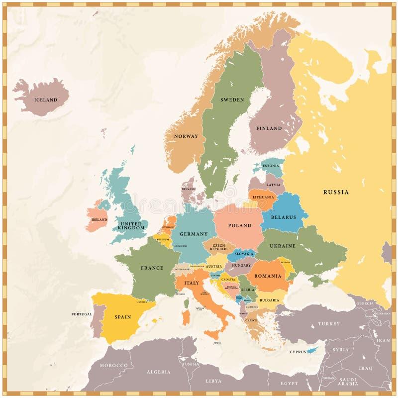De vector Uitstekende Kaart van Europa royalty-vrije illustratie