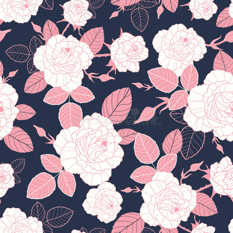 De vector uitstekende roze en witte rozen en de bladeren op dark, naadloze marineachtergrond herhalen patroon Groot voor retro st vector illustratie