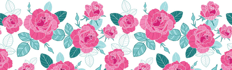 De vector uitstekende roze rozen en de blauwe bladeren op witte horizontale naadloos als achtergrond herhalen patroongrens Groot  stock illustratie