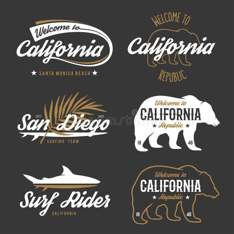 De vector uitstekende zwart-wit kentekens van Californië royalty-vrije illustratie