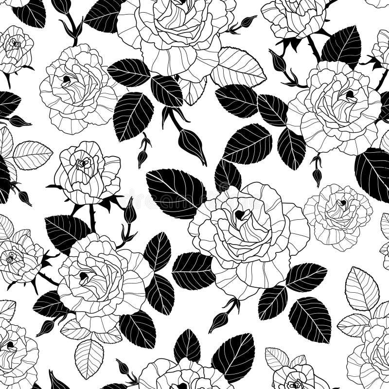De vector uitstekende zwart-witte naadloze rozen en de bladeren herhalen patroon Groot voor retro stof, behang, het scrapbooking vector illustratie