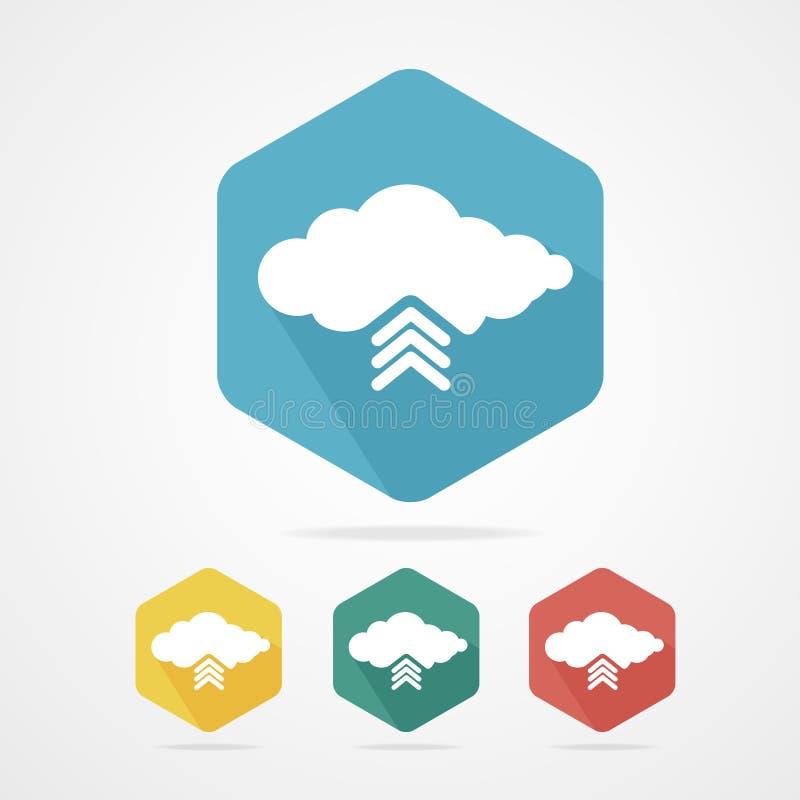 De vector uploadt van de reeks van het wolkenpictogram stock illustratie