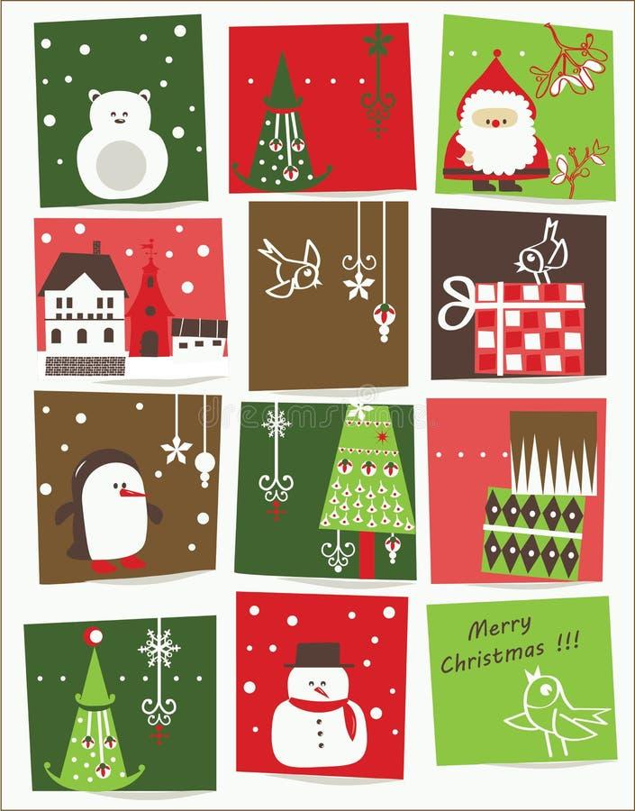 De vector van af:drukken - Kerstkaart met aardige beeldverhalen royalty-vrije illustratie
