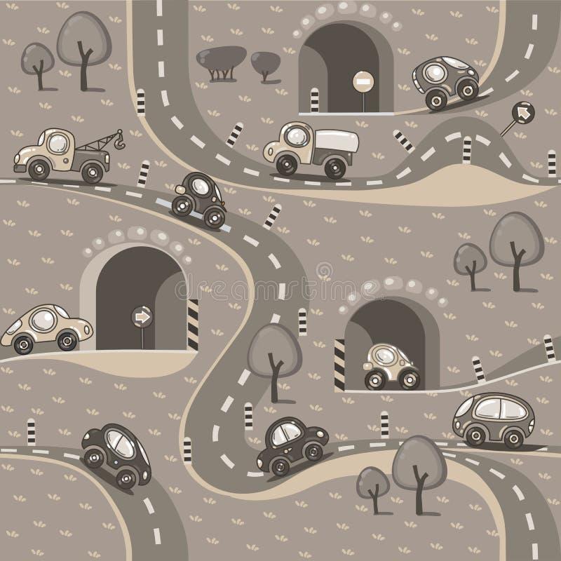 De vector van auto's Naadloos patroon vector illustratie