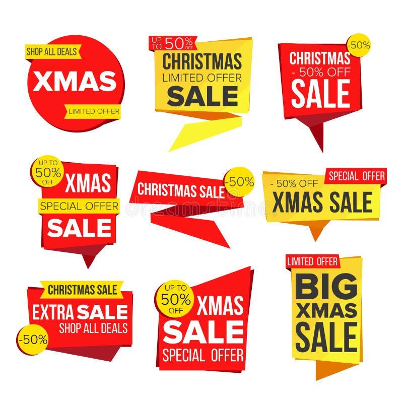 De Vector van de de Bannerinzameling van de Kerstmisverkoop Online Winkelend De Stickers van de de winterwebsite, het Ontwerp van royalty-vrije illustratie
