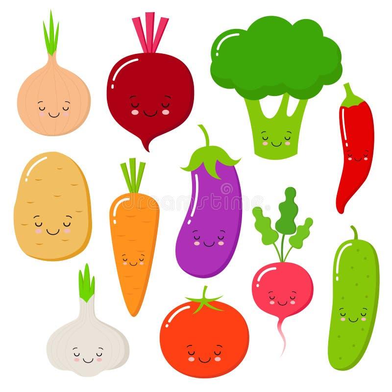 De vector van beeldverhaalgroenten in vlakke stijl wordt geplaatst die Ui, wortel, komkommer, paprika, tomaat, peper, broccoli, k vector illustratie