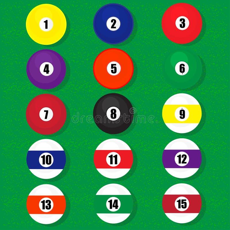 De vector van biljartballen stock illustratie