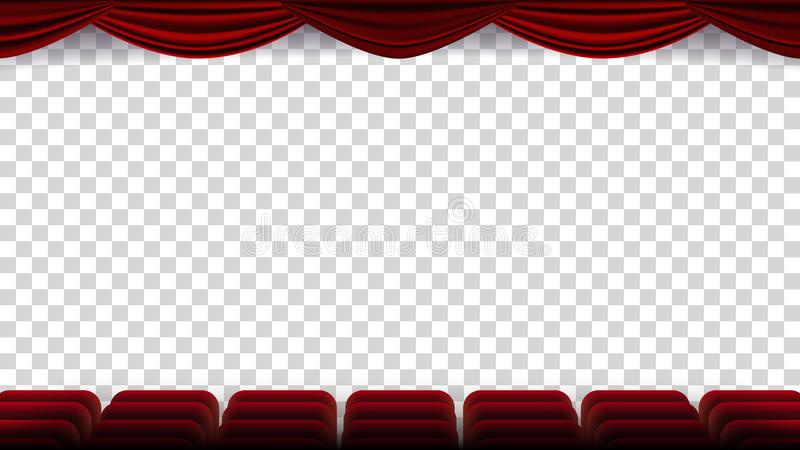 De Vector van bioskoopstoelen Film, Film, Theater, Auditorium met Rood Seat, Rij van Stoelen Het lege Scherm Op vector illustratie