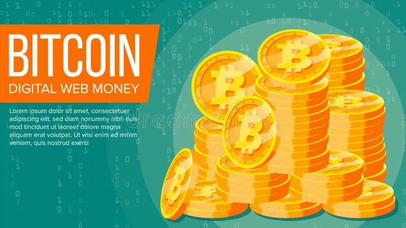 De Vector van de Bitcoinbanner Digitaal Webgeld Gouden Muntstukkenstapel Bedrijfscrypto Munt De Technologie van het computerconta stock illustratie