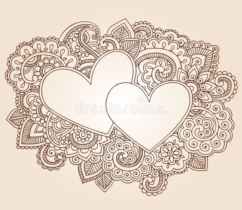 De Vector van de Dag van de Valentijnskaart van de Harten van de henna royalty-vrije illustratie