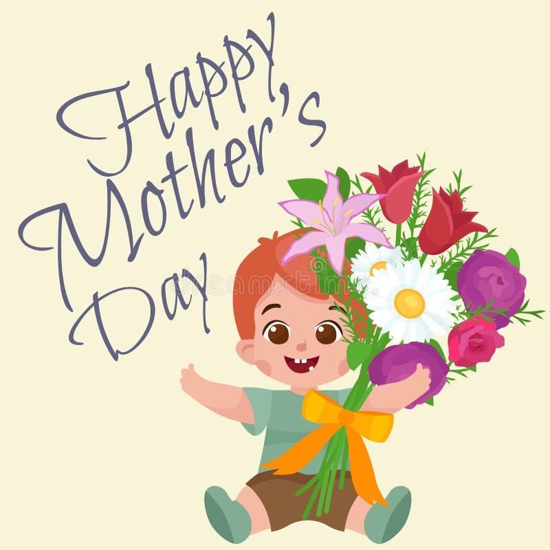 De vector van de de karbaby van de illustraiongroet Dag van de jongens Gelukkige Moeders stock illustratie