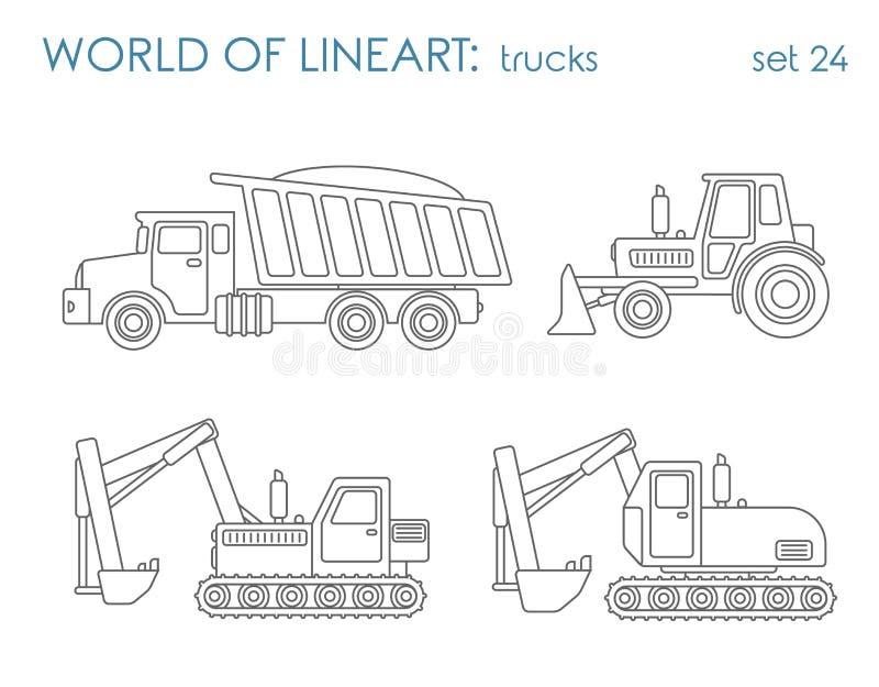 De vector van de de lijnkunst van het bouwvervoer: de nivelleermachine van de graafwerktuigtractor stock illustratie