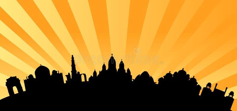 De vector van de de oriëntatiepuntenhorizon van Delhi vector illustratie