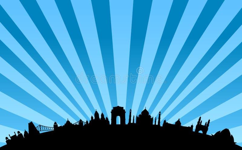 De vector van de de oriëntatiepuntenhorizon van India royalty-vrije illustratie