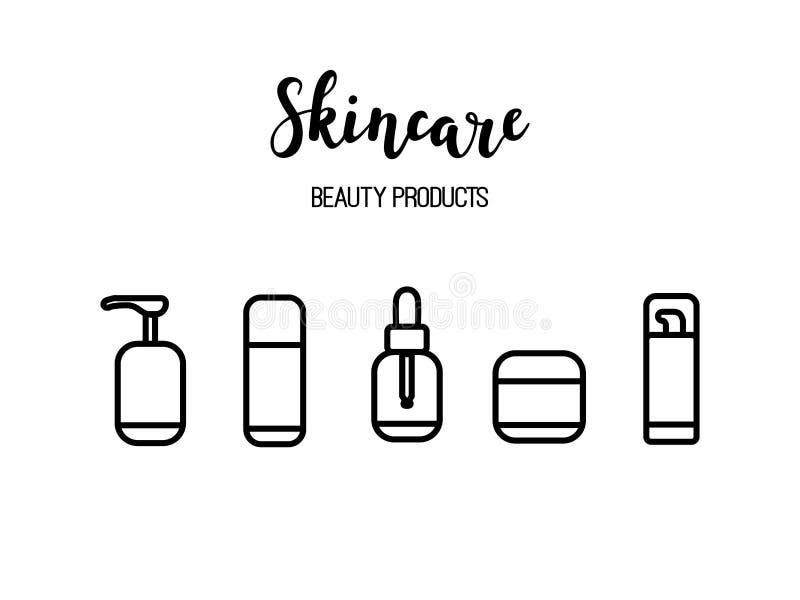De vector van de de schoonheidsmiddelenschoonheid van skincareproducten pictogrammen van de de lijnkunst routine stock illustratie