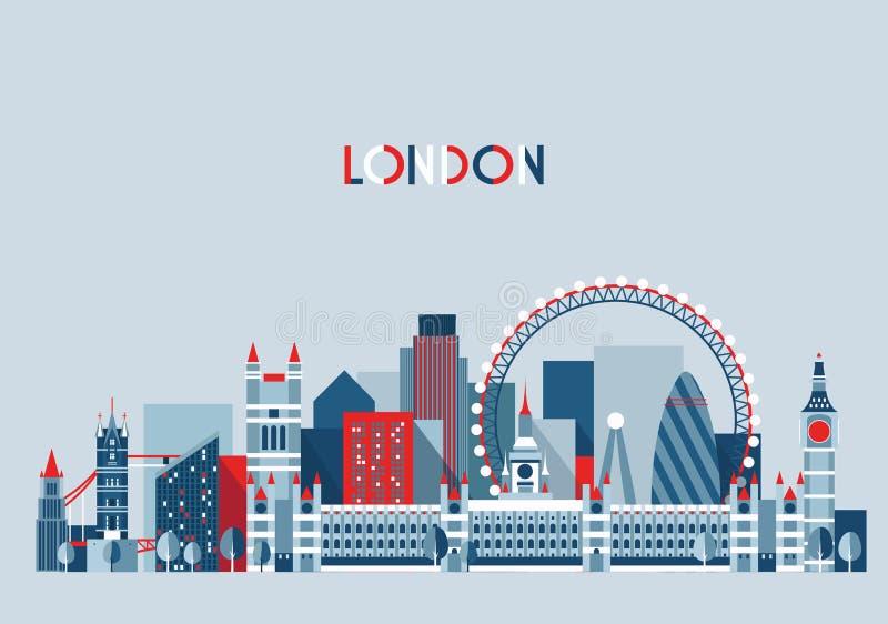 De Vector van de de Stadshorizon van Londen, Engeland Vlakke In vector illustratie
