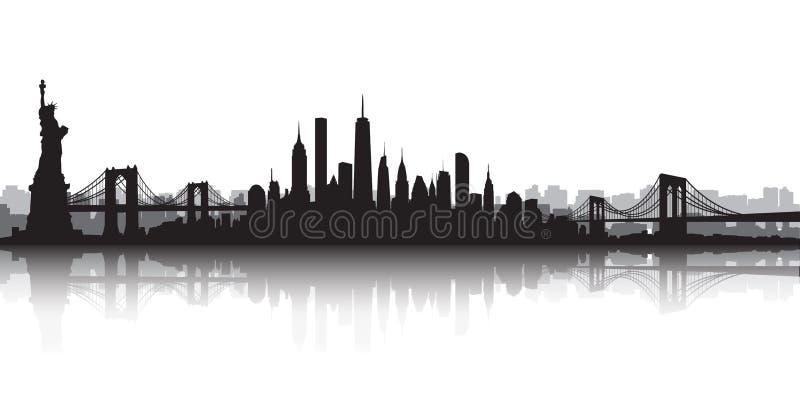De Vector van de de Stadshorizon van New York royalty-vrije illustratie