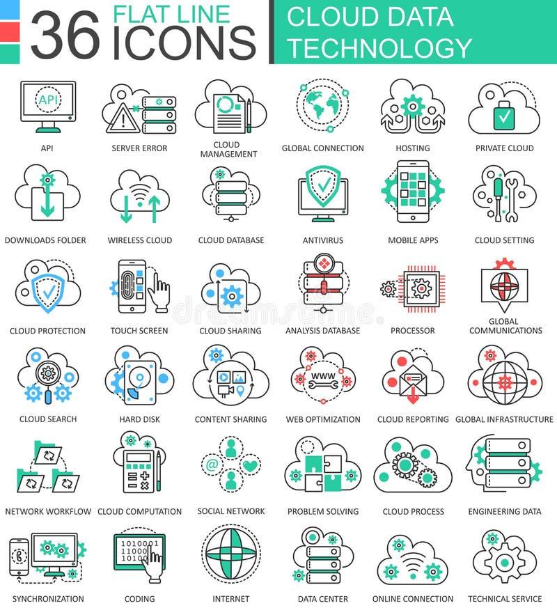 De vector van de de technologie ultra moderne kleur van Wolkengegevens pictogrammen van de het overzichtslijn voor apps en Webont stock illustratie