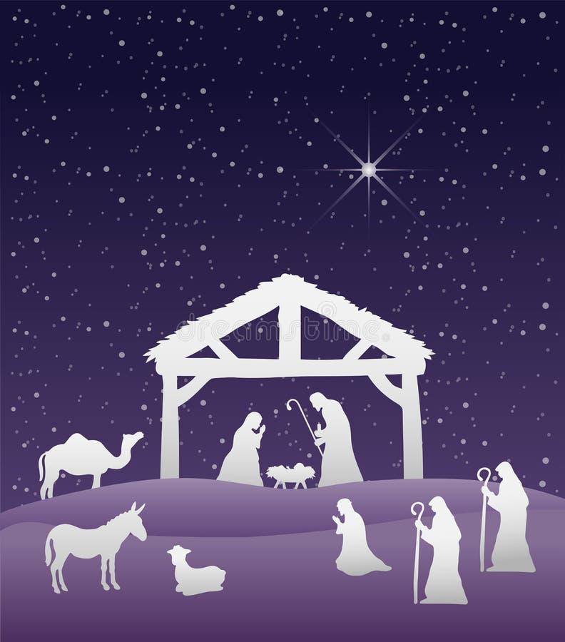 De vector van de geboorte van Christusscène onder sterrige hemel stock illustratie