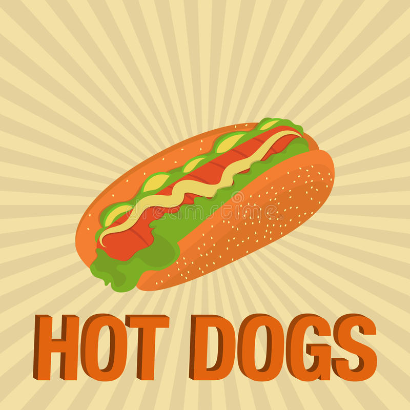 De vector van de hotdogillustratie stock illustratie