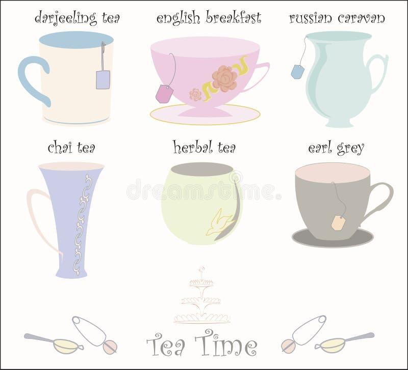 De Vector van de Inzameling van de Koppen van de thee vector illustratie