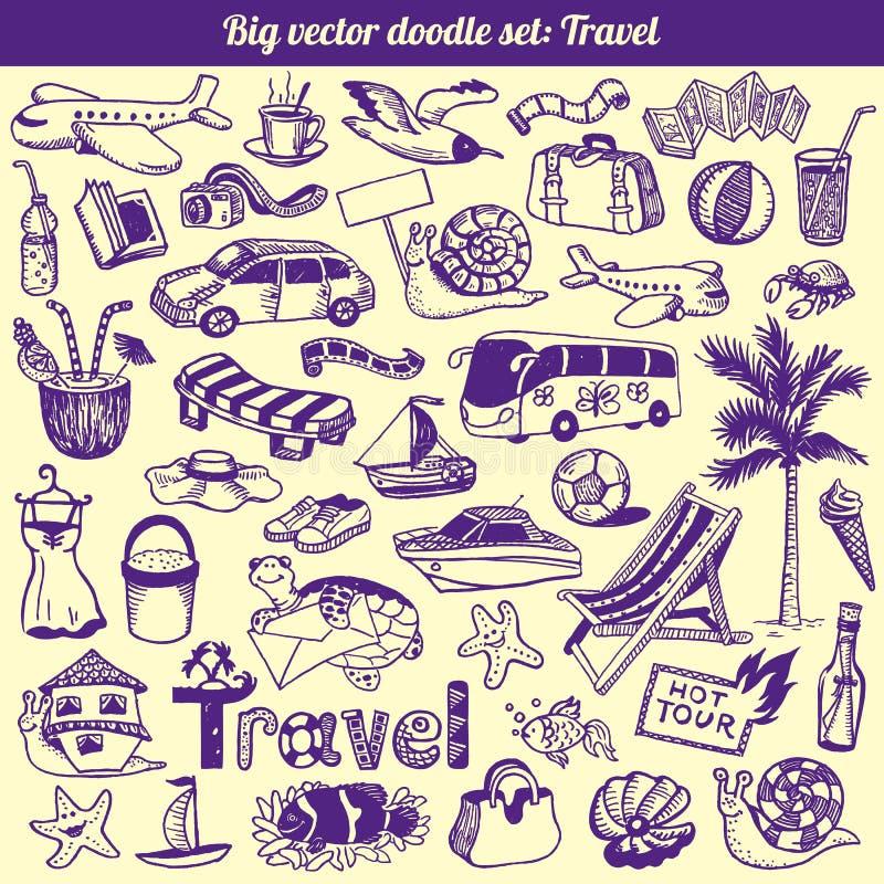 De Vector van de Inzameling van de Krabbels van de reis stock illustratie