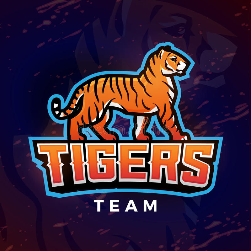 De vector van de tijgermascotte Het ontwerpmalplaatje van het sportembleem Voetbal of honkbalillustratie De insignes van de unive vector illustratie