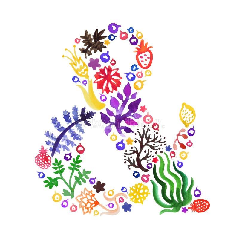 De vector van de waterverfaard ampersand met (multicolored) bloemen, bessen en installaties stock illustratie