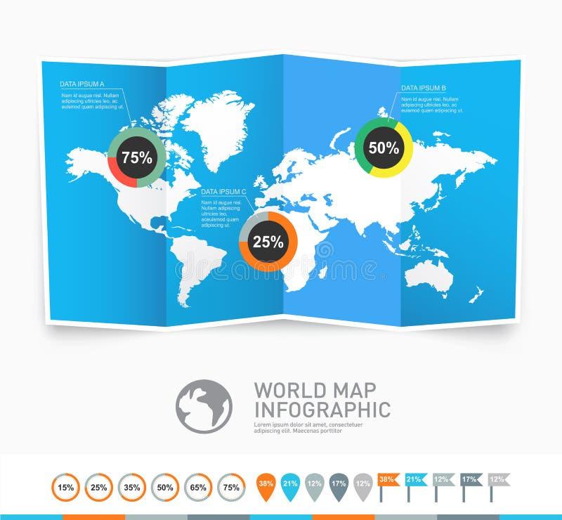De vector van de wereldkaart met infographic elementen royalty-vrije illustratie