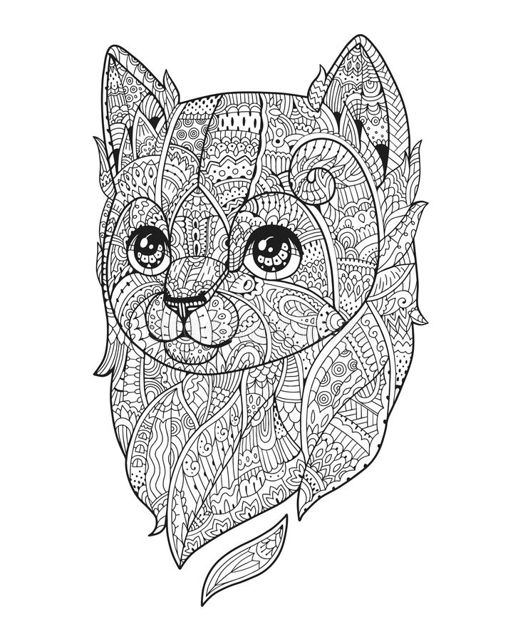 De vector van de Zenkunst Hand-drawn pluizig autoportret royalty-vrije illustratie
