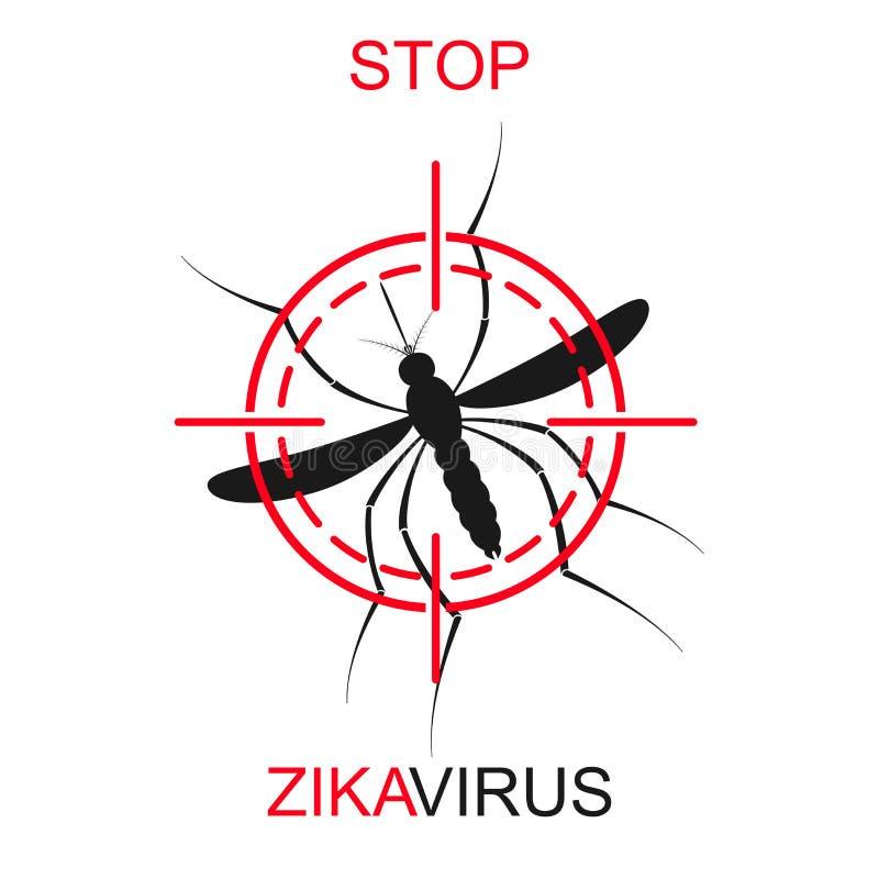 De vector van de Zikamug Virusalarm Aedes Aegypti op witte achtergrond wordt geïsoleerd die vector illustratie